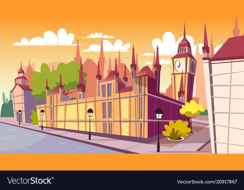 Lodon day cityscape cartoon