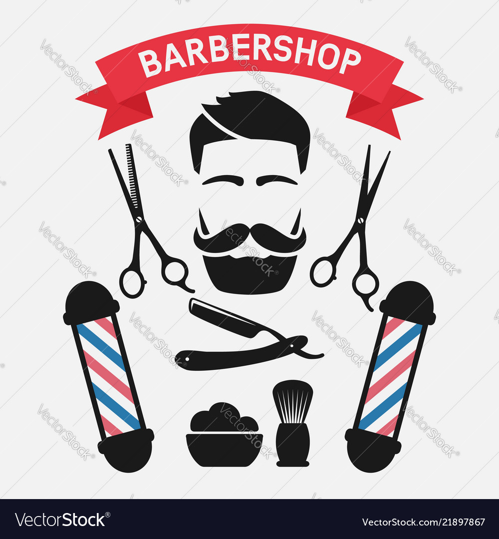 Male face with barbershop tools