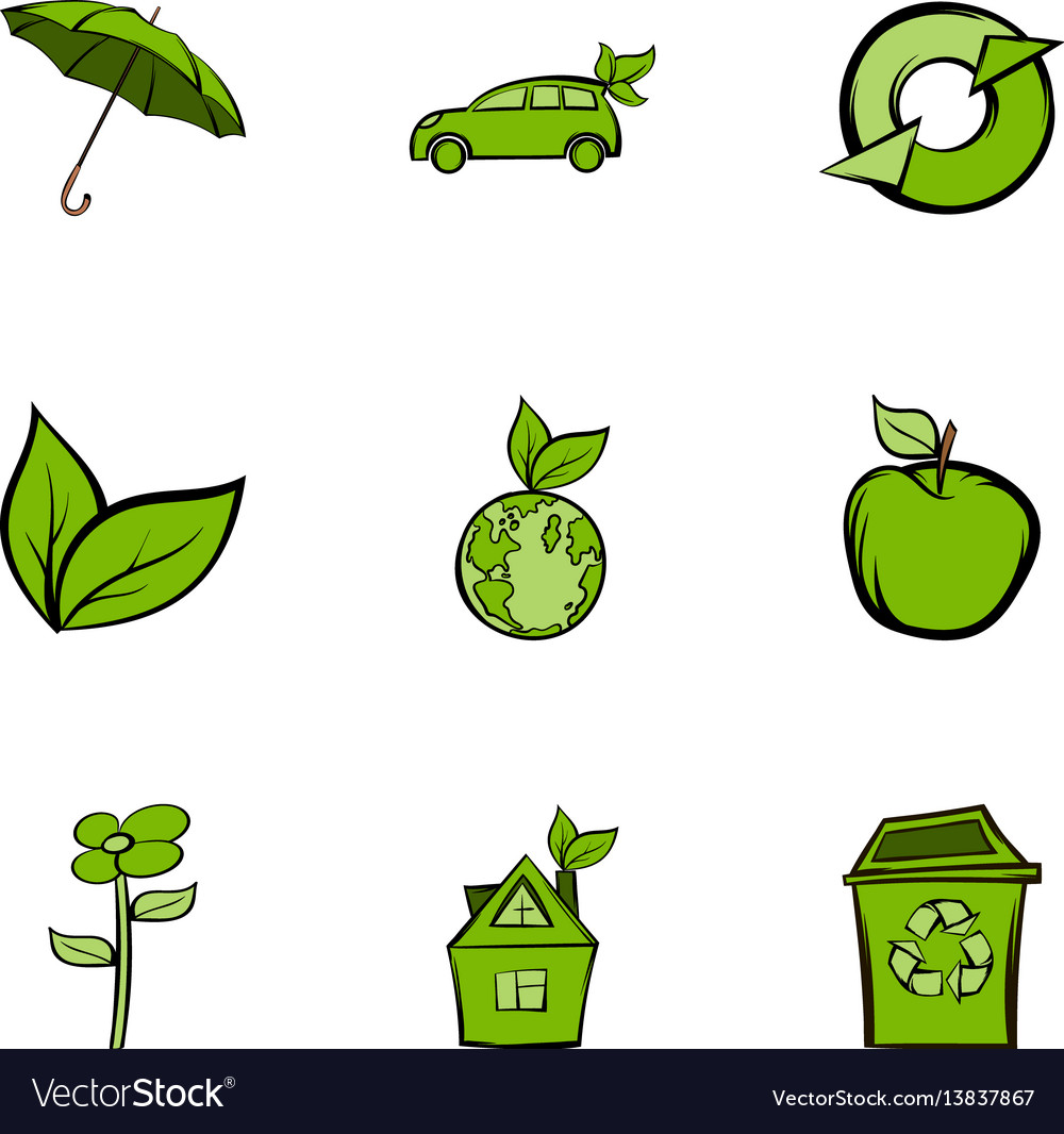 Nature protection icons set cartoon style