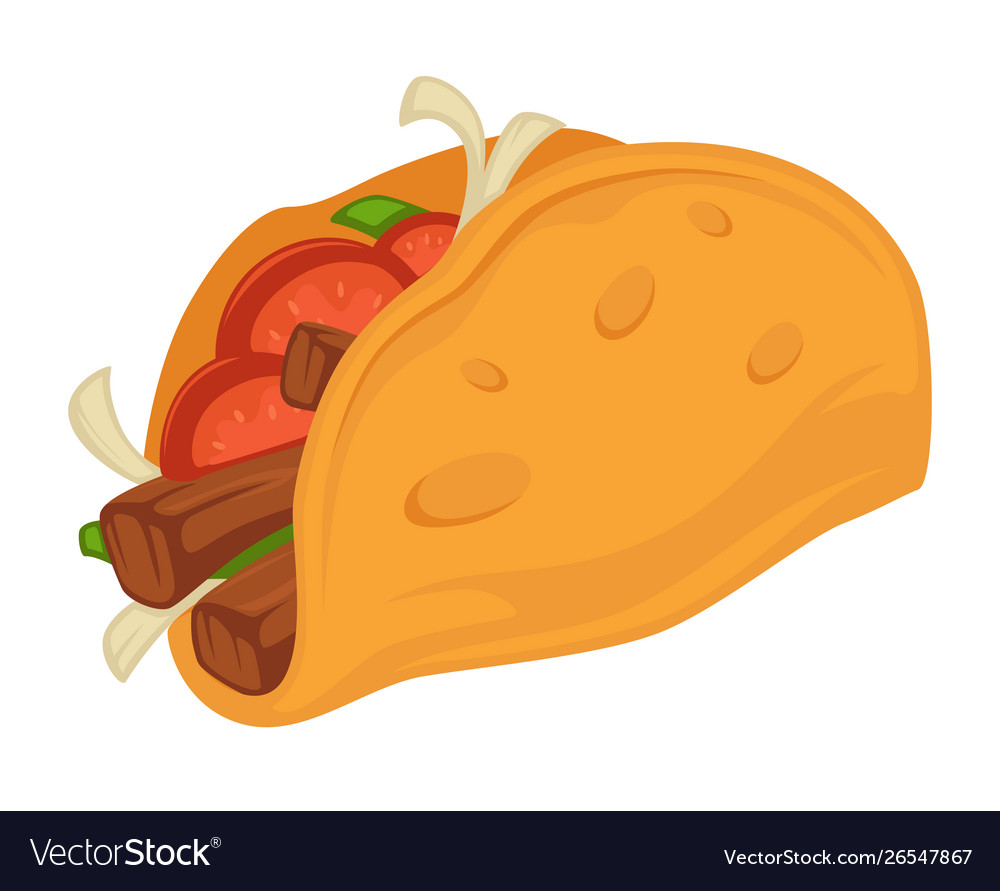 Taco mexican traditional food with tomato and meat