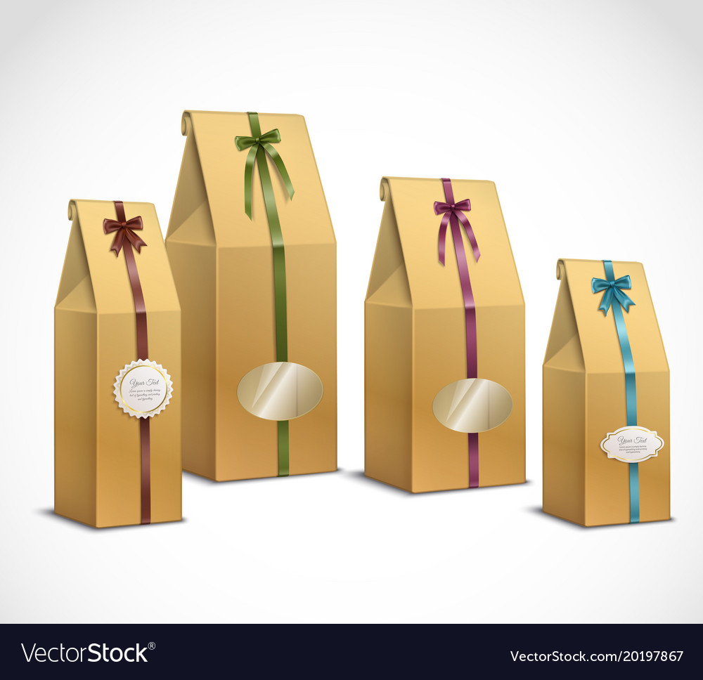 Tea paper packaging realistic set