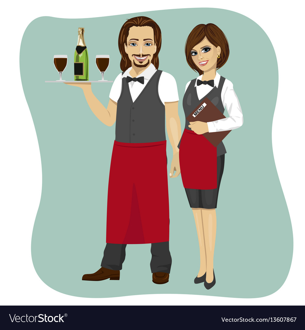 Waiter and waitress holding a serving tray