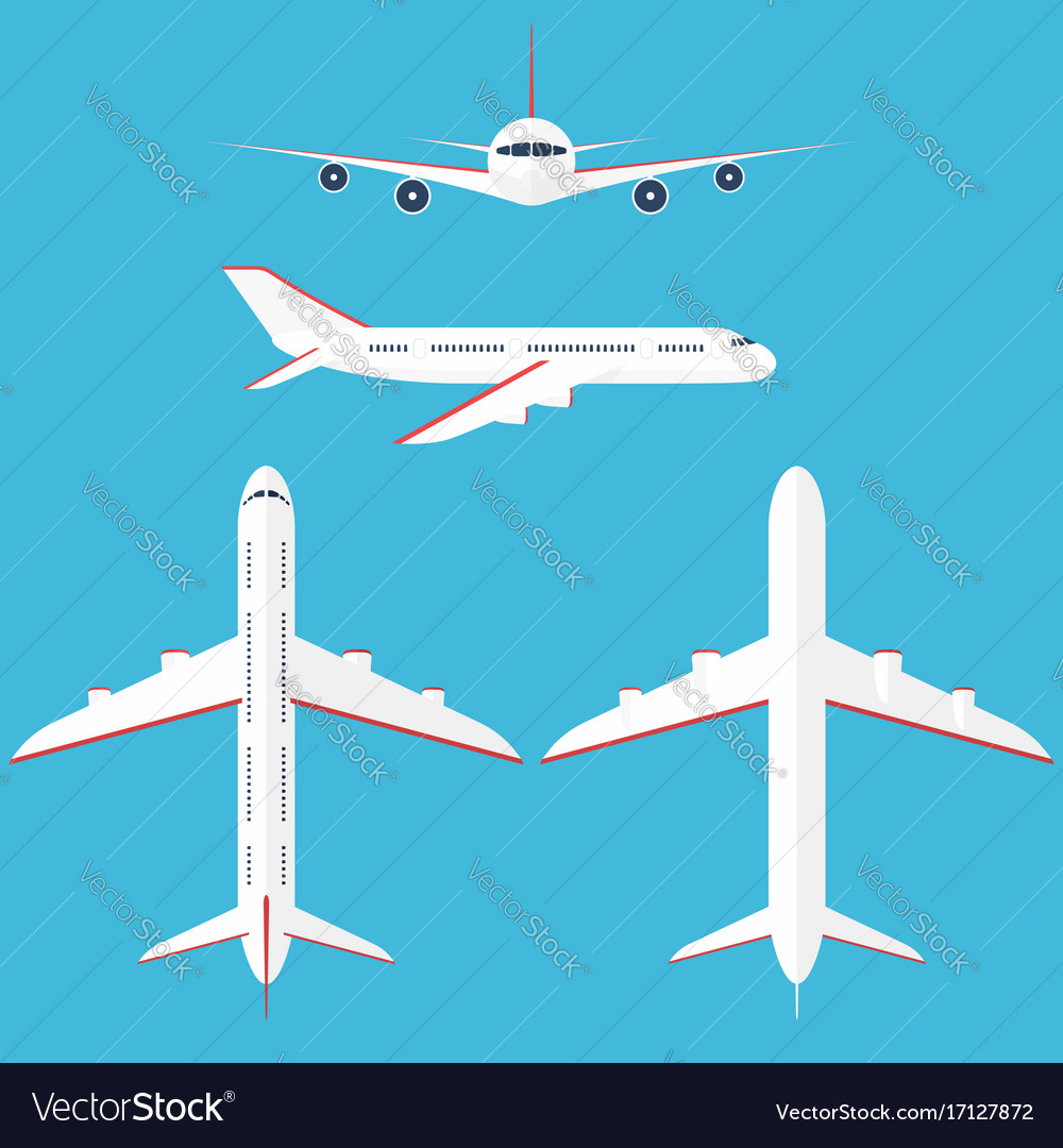 Airplane set in the sky commercial airplane in
