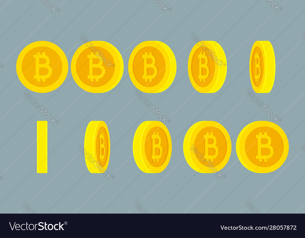 Bitcoin rotating gif animation sprite sheet on