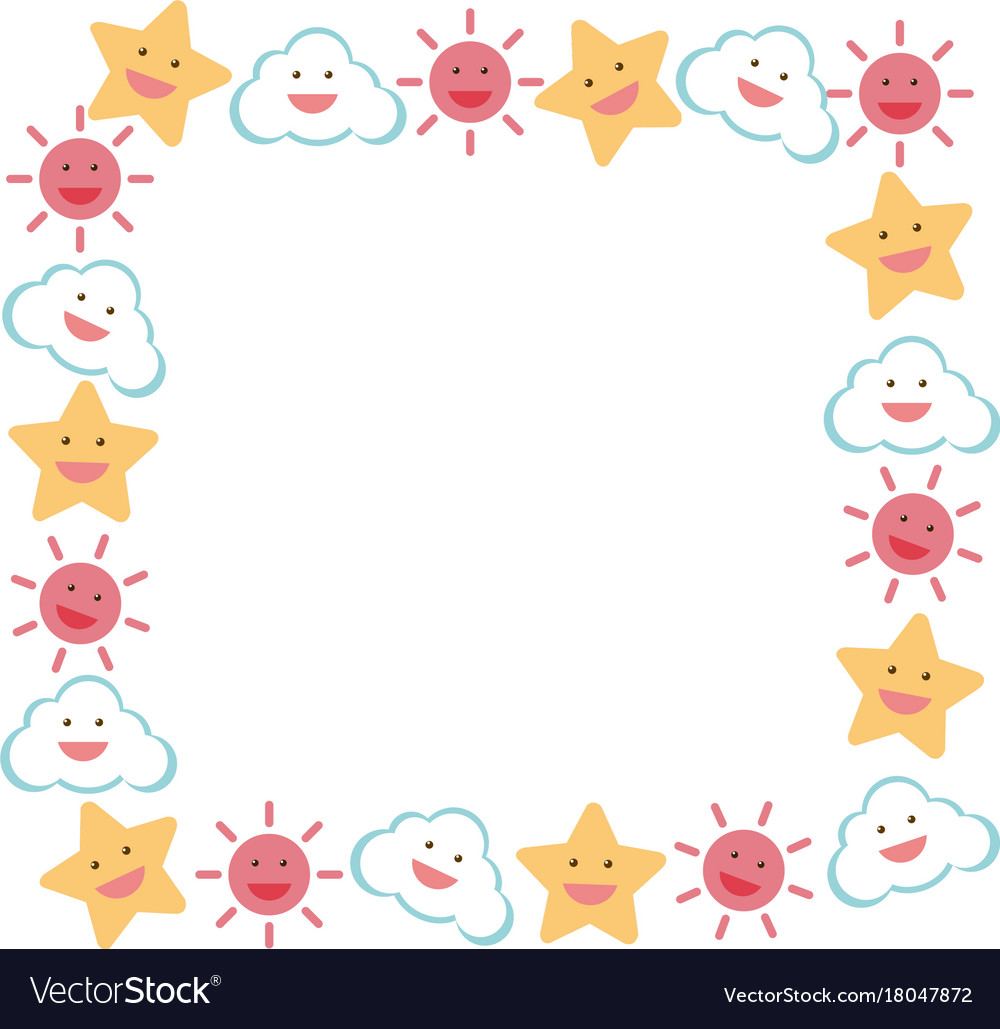 border template with star and sun royalty free vector image