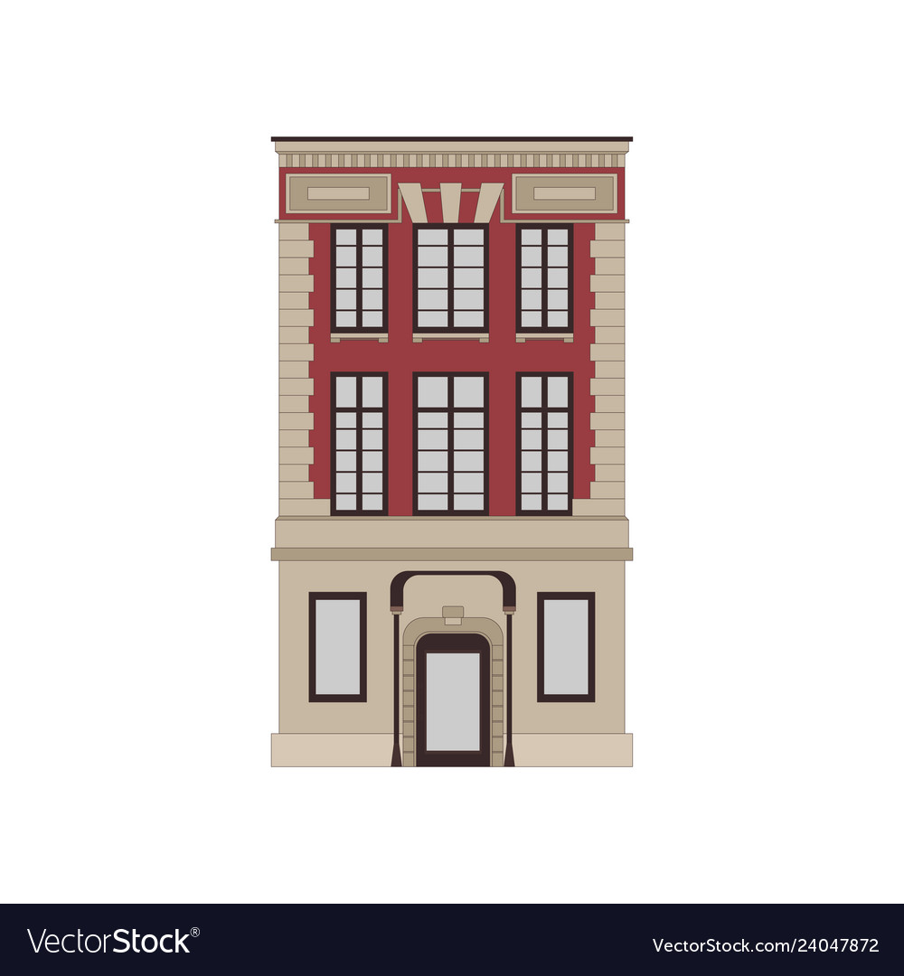 Cartoon historical red building icon highly