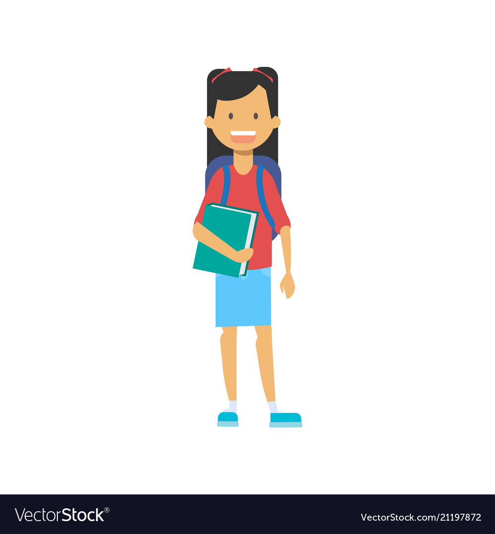 Casual schoolgirl with backpack and copybook