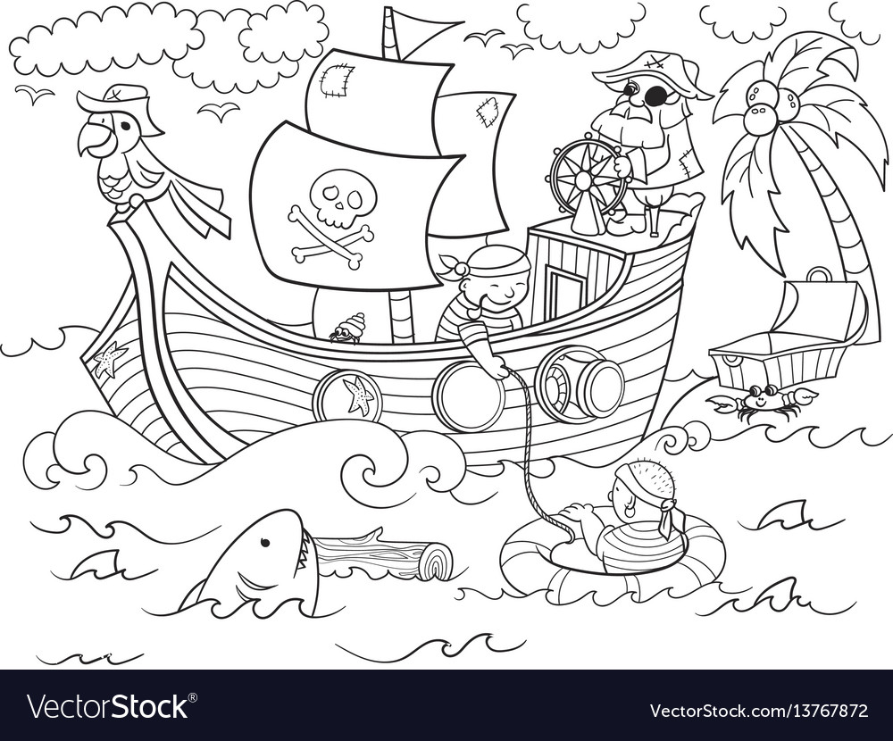Children coloring on the theme of pirates