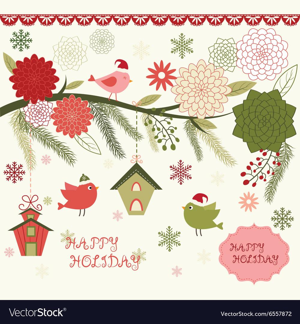 Christmas Bird Flora set