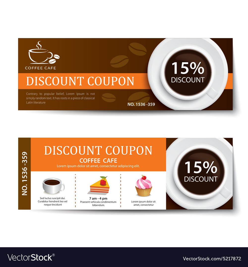 coffee coupon discount template design royalty free vector