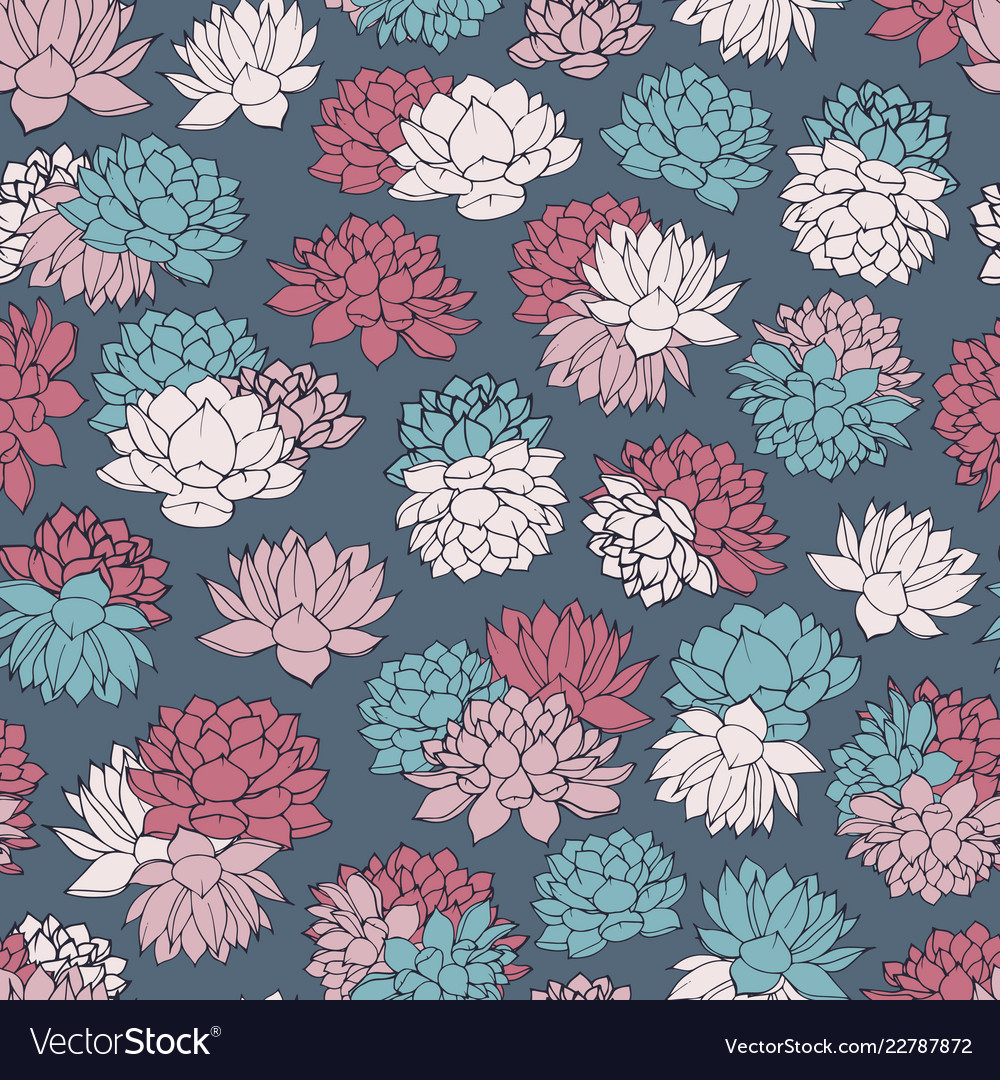 Colorful hand drawn water lilies seamless pattern