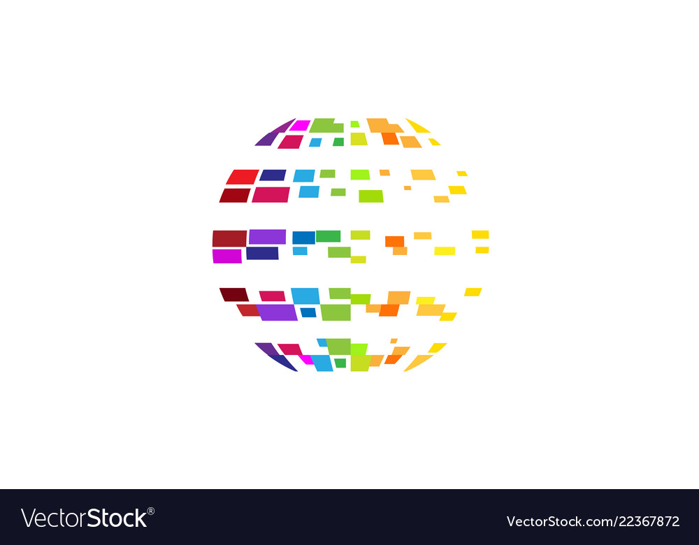 Digital colorful planet pixel circle logo