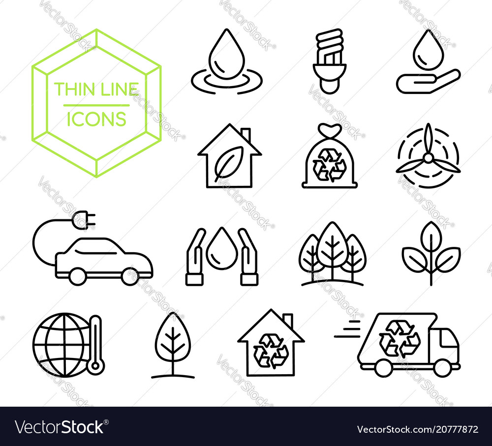 Green energy nature help thin line icon set