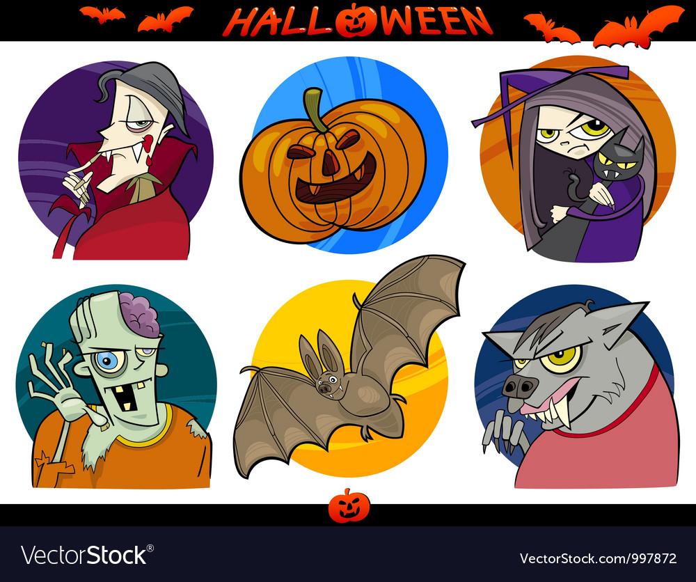 Halloween Cartoon Themes Set vector image