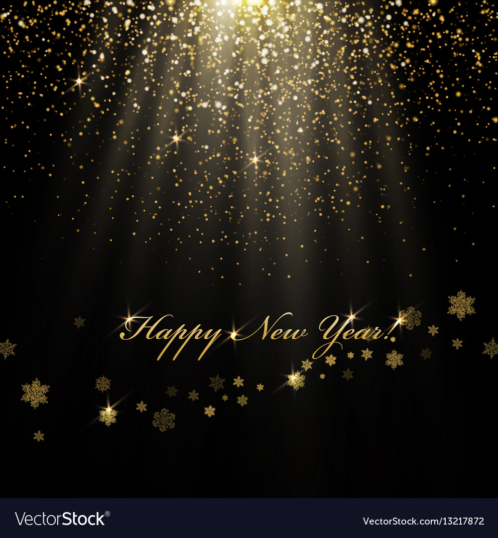 Happy New Year greetings and golden lights