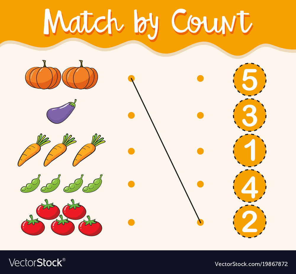 math worksheet template with matching numbers and vector image