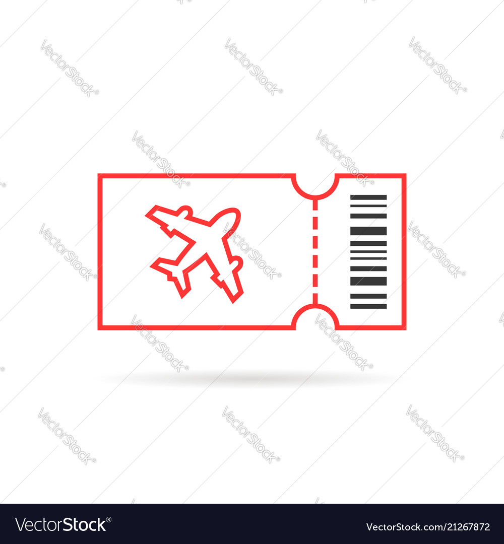 Red thin air line ticket logo isolated on white
