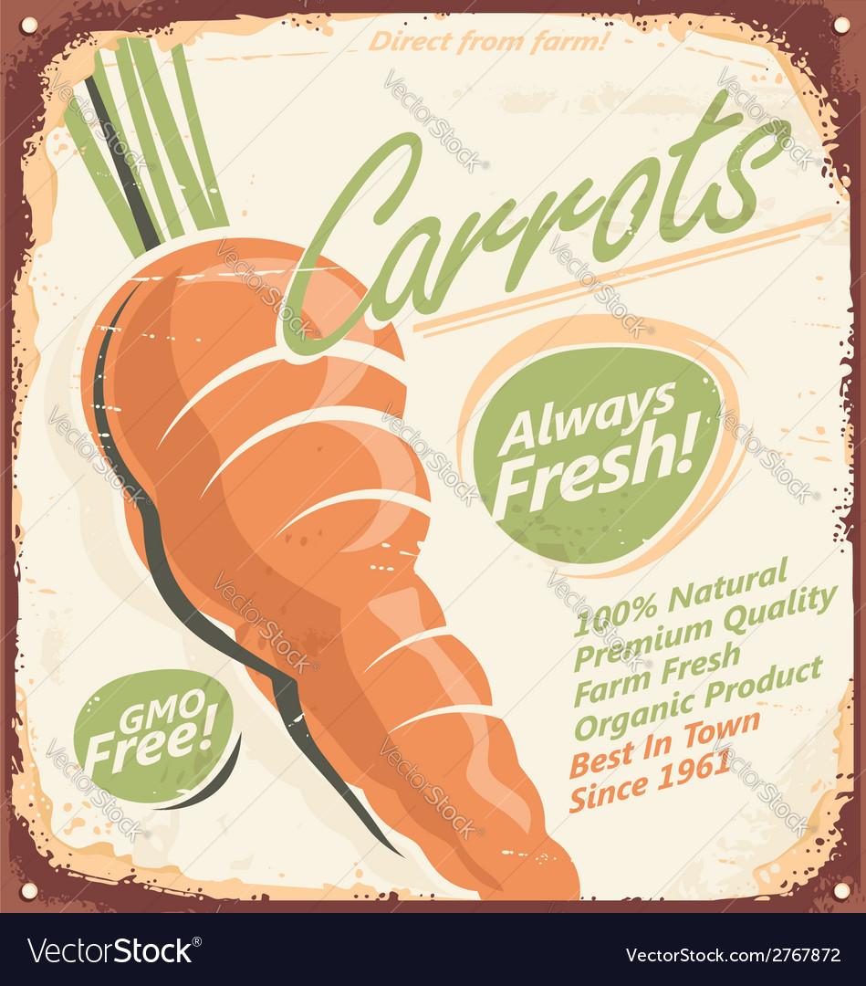 Retro metal sign for farm fresh carrots