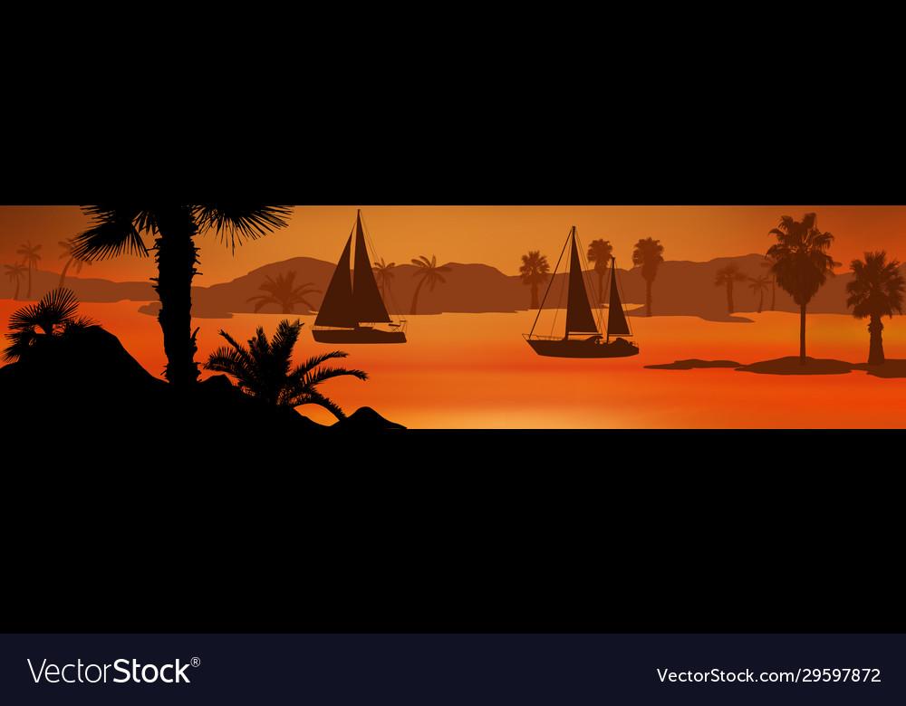 Sailing boats silhouette at sea on beautiful