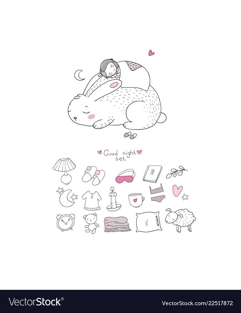 Sleeping set cartoon girl and a rabbit sweet