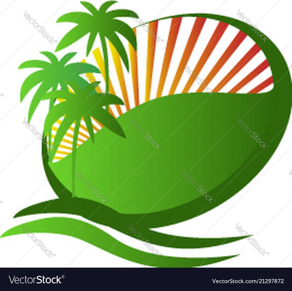 Tropical island vacation symbol logo