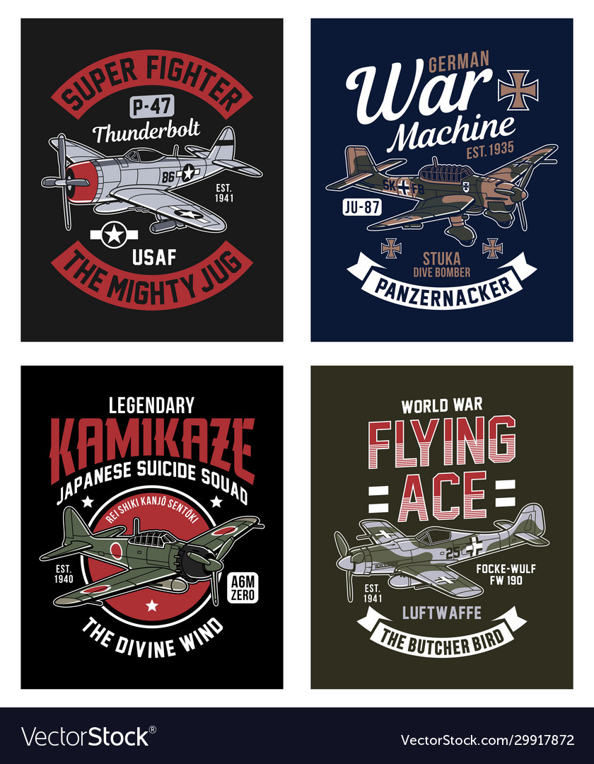 Vintage world war 2 fighter plane graphic t-shirt