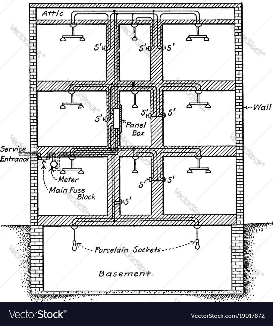 Wiring Vintage Royalty Free Vector Image Vectorstock A Basement Diagram