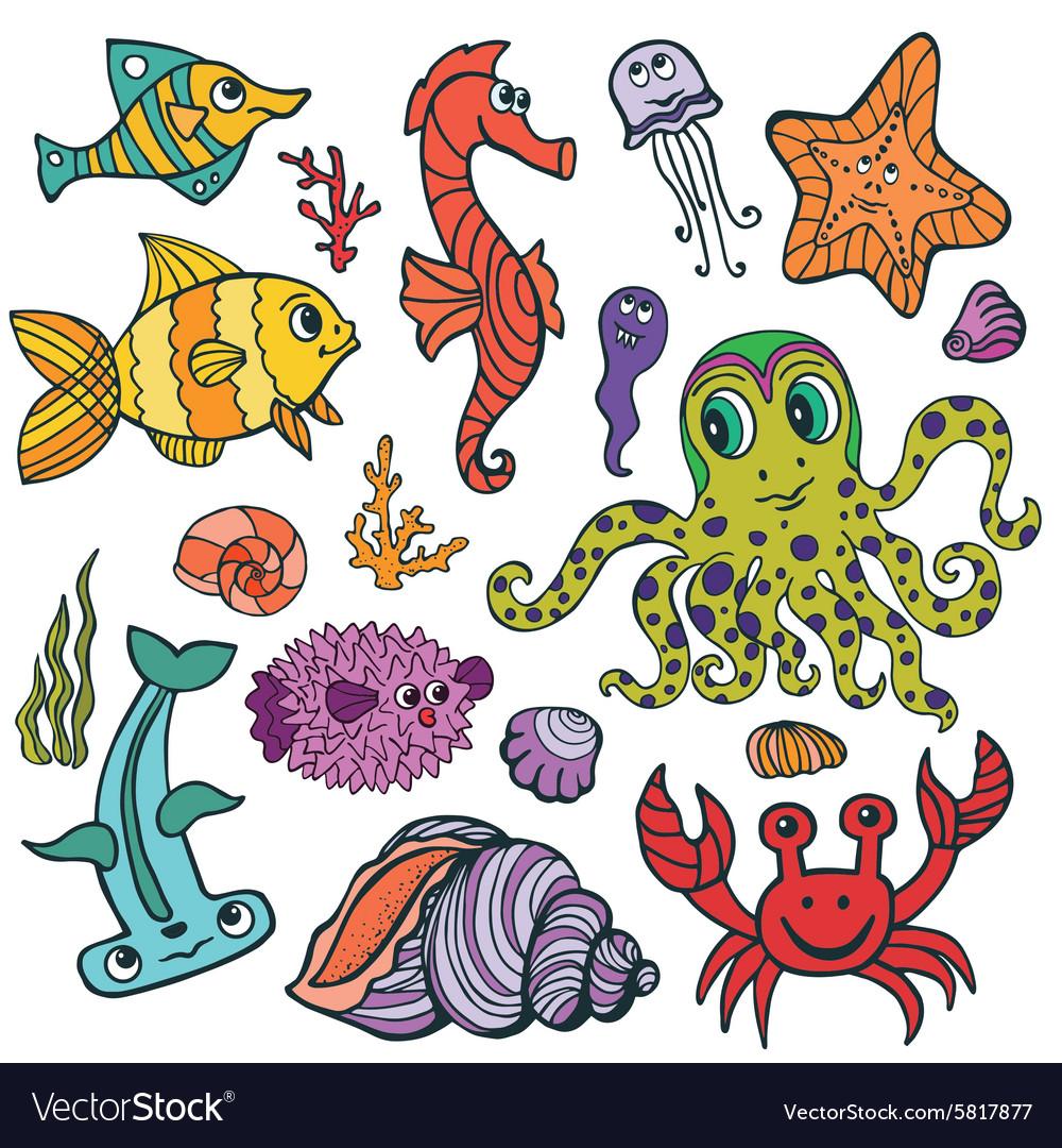 Cartoon Funny Fish Sea Life Colored Doodle set vector image