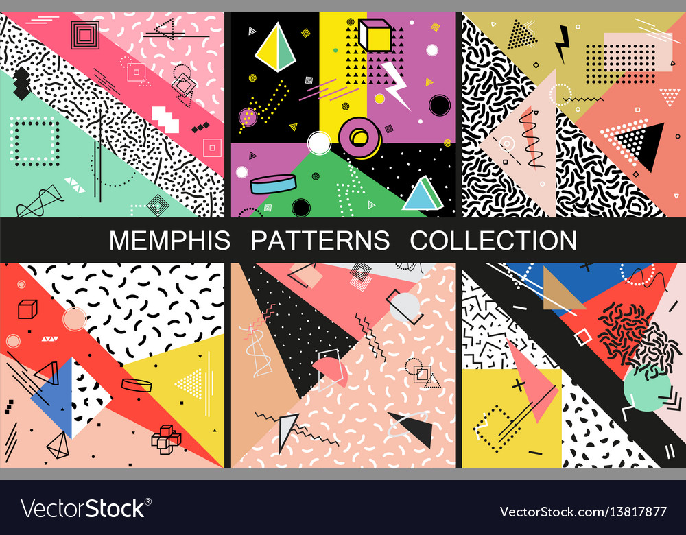Collection of abstract memphis patterns