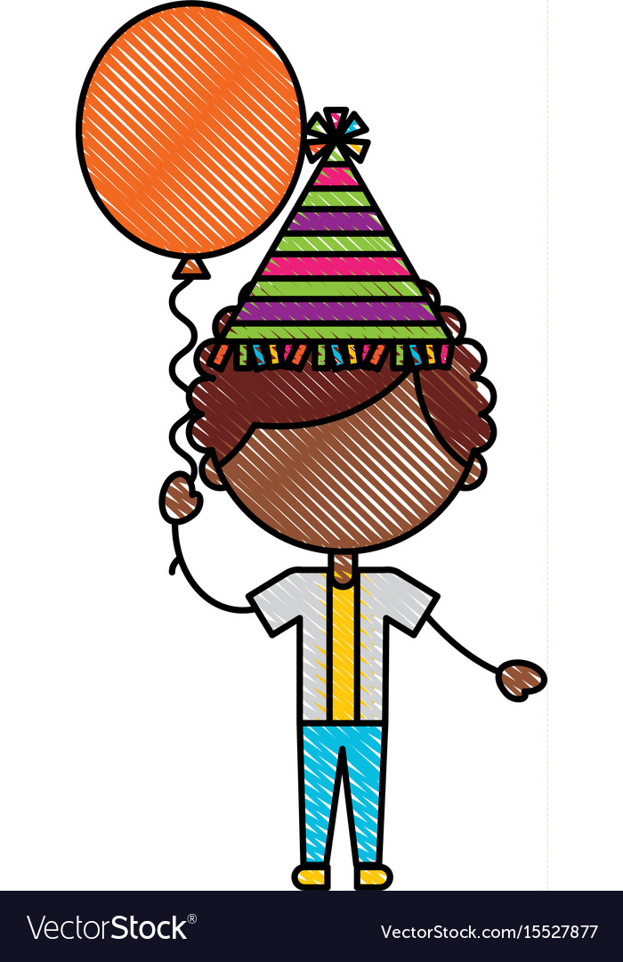 Cute boy with balloon air character vector image