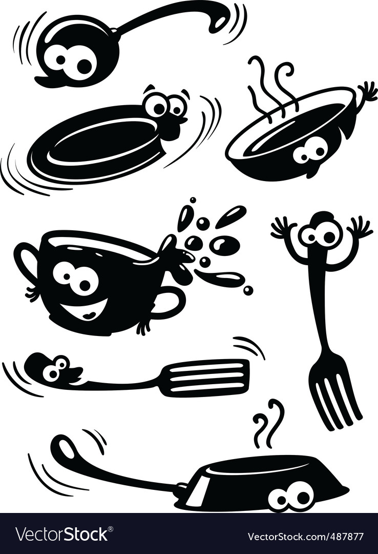 Cute funny kitchenware with eyes vector image
