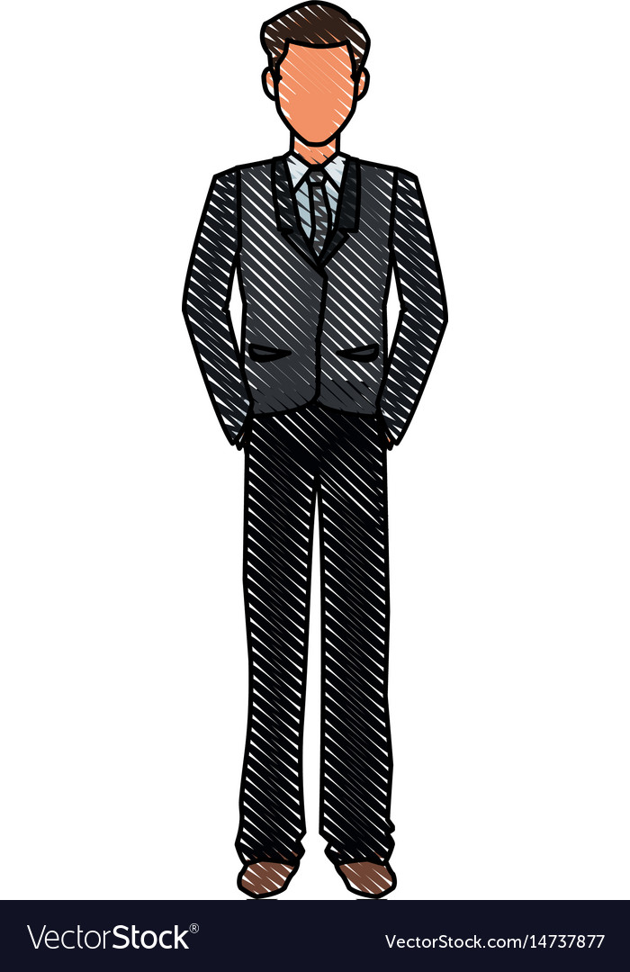 Drawing character business man with suit