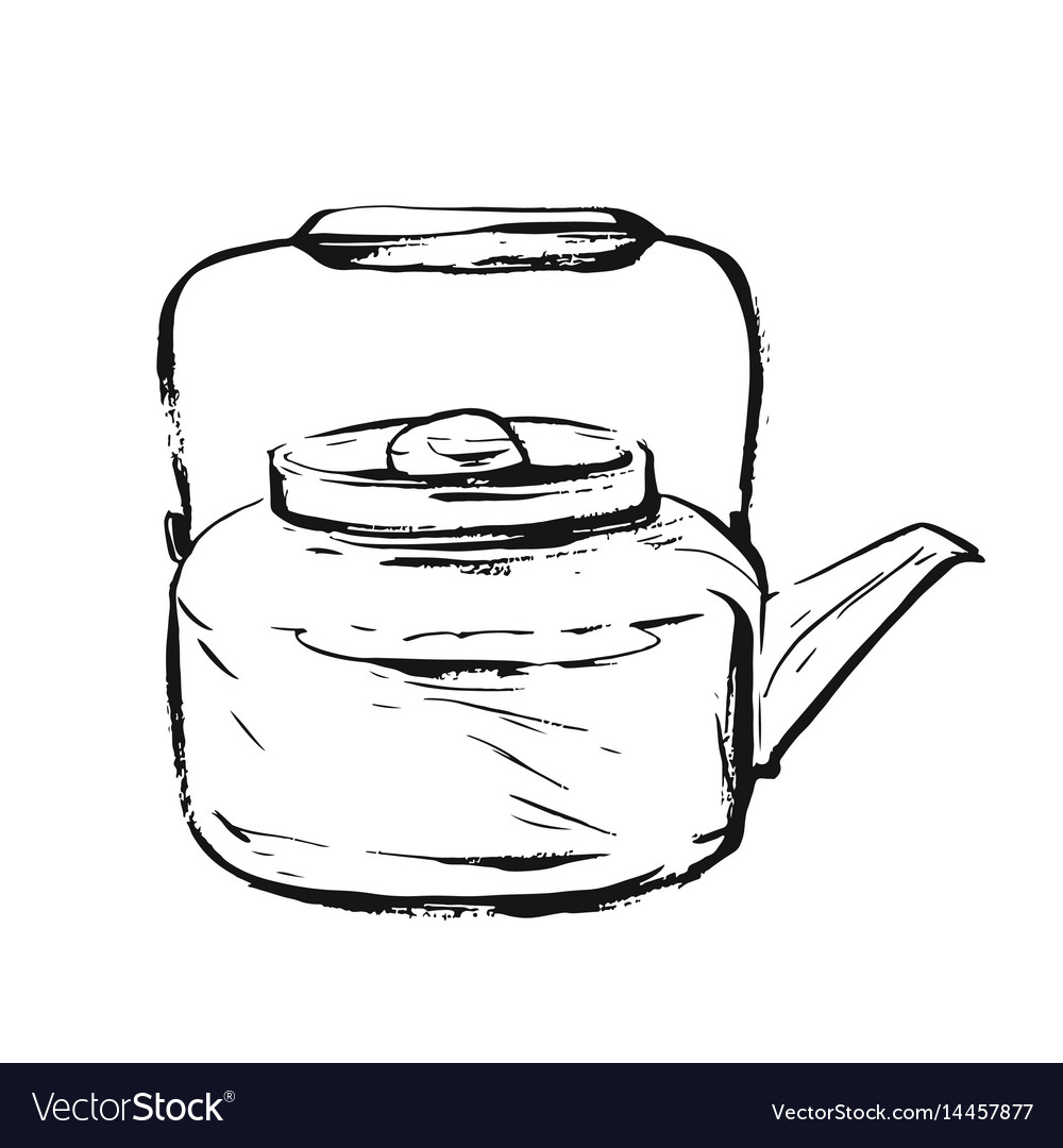 Hand drawn graphic ink sketch of teapot