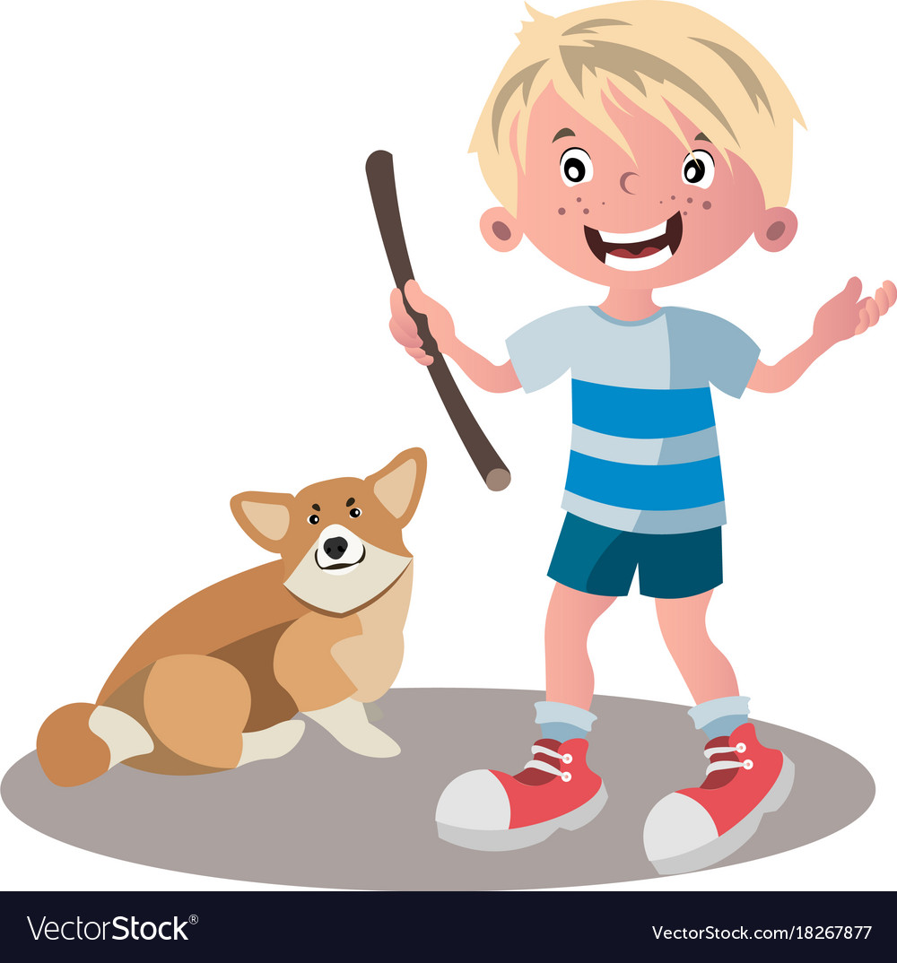 Little boy dog friend cartoon vector image