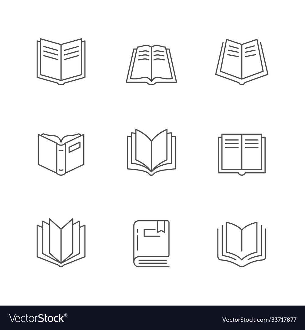 Set line icons book vector