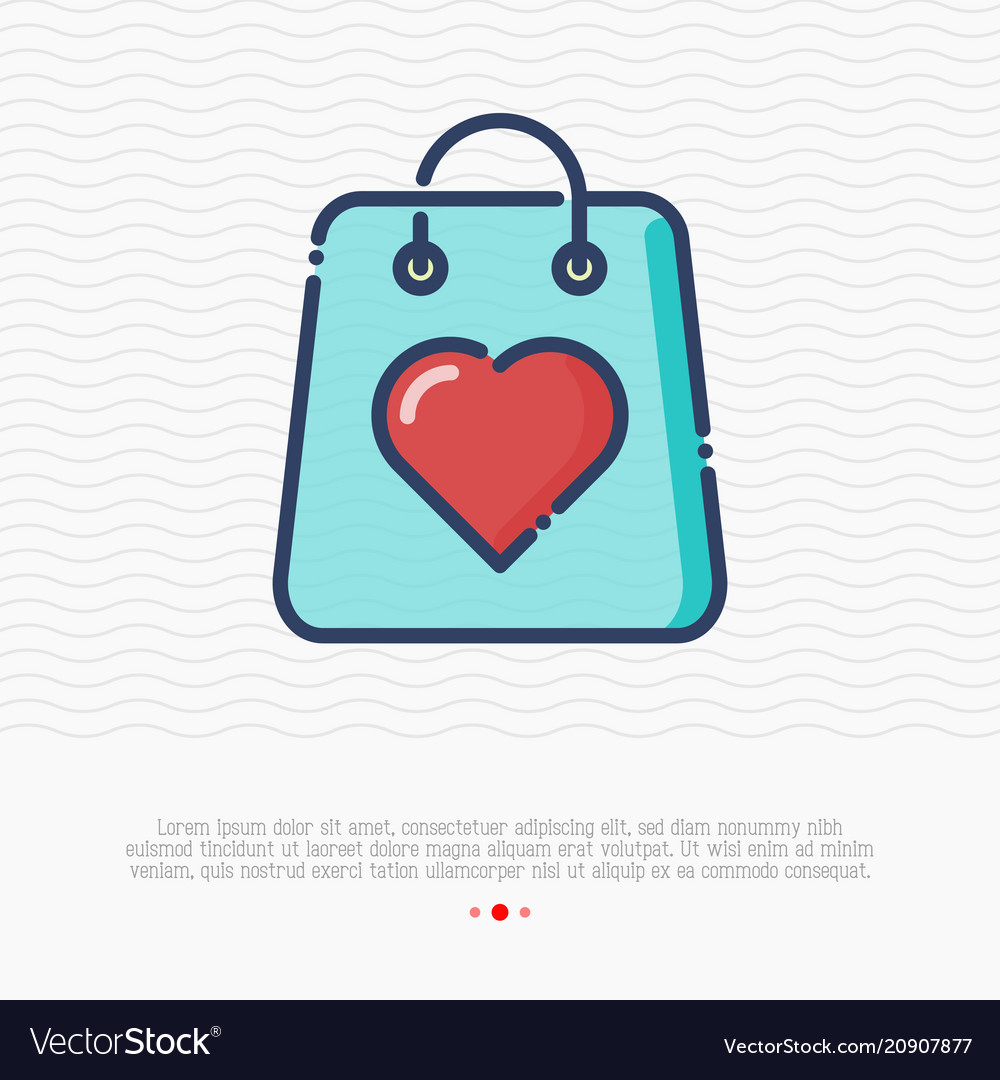 Shopping bag with heart thin line icon