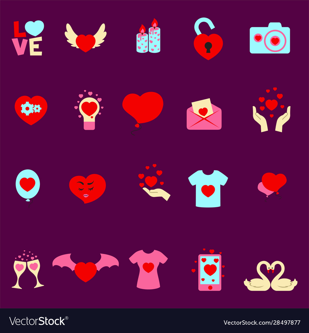 Valentine s day set cartoon flat icons vector