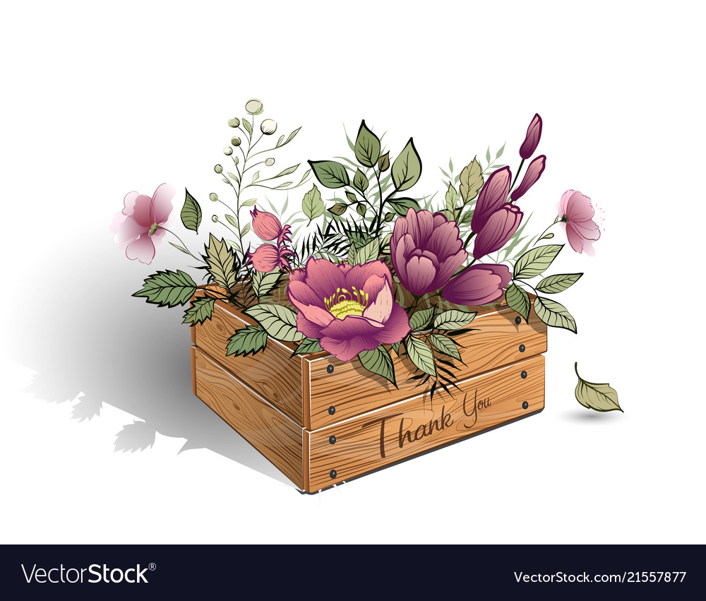 Wooden Box With A Bouquet Beautiful Flowers Vector Image