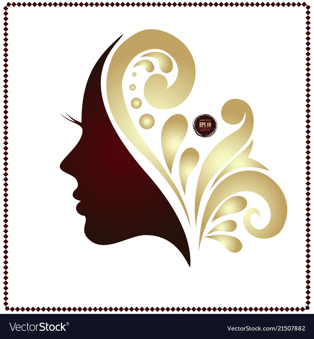 Beauty woman face silhouette in profile