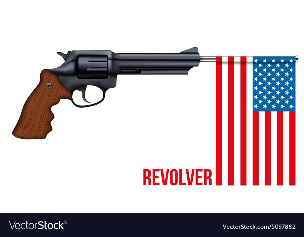 Big Revolver with USA flag vector image