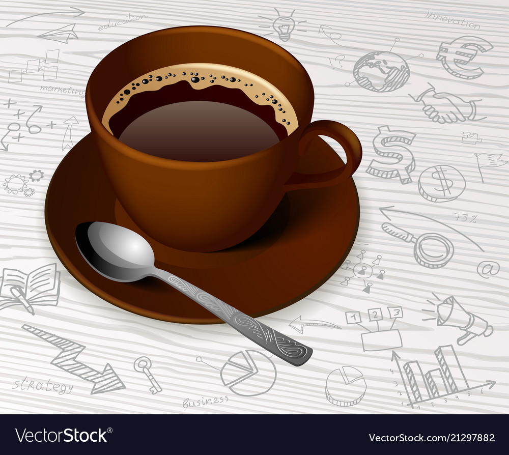 Brown cup with tea bag and hand drawn business