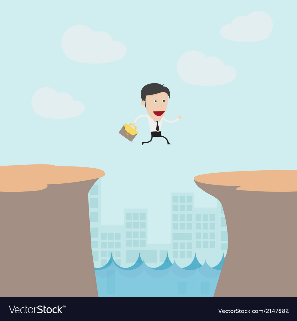 Businessman jumping from moutain vector image