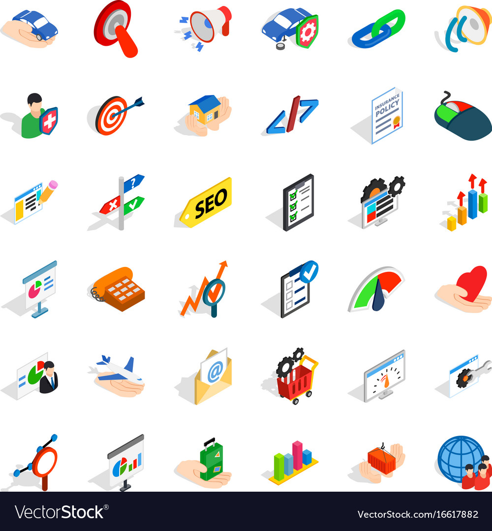 Career in company icons set isometric style