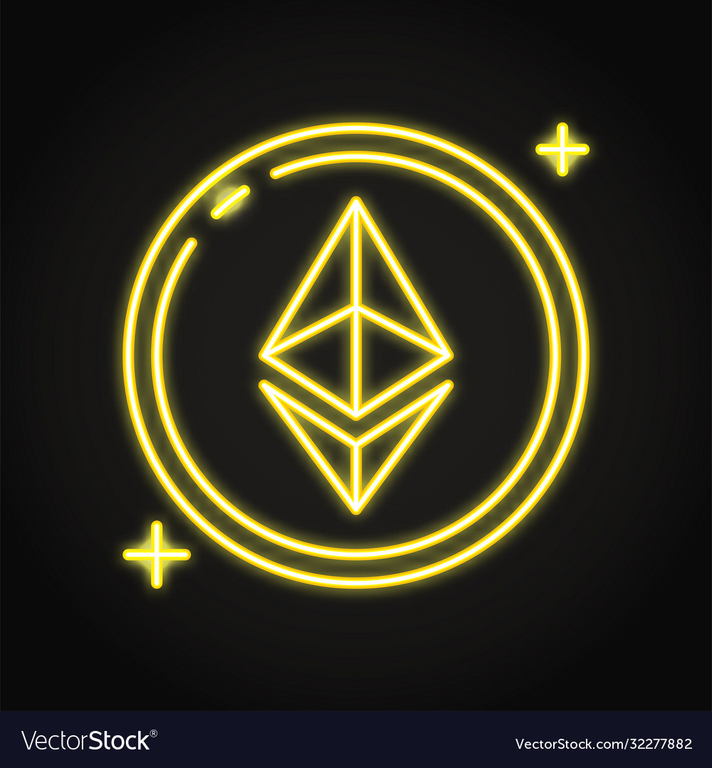 Ethereum coin icon in neon line style
