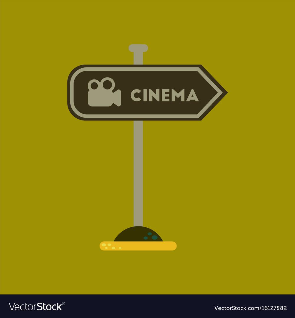 Flat icon on background cinema sign