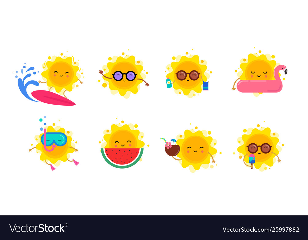 Fun summer elements sun characters icons with