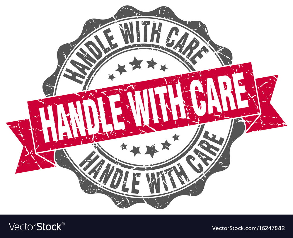 handle with care stamp sign seal royalty free vector image