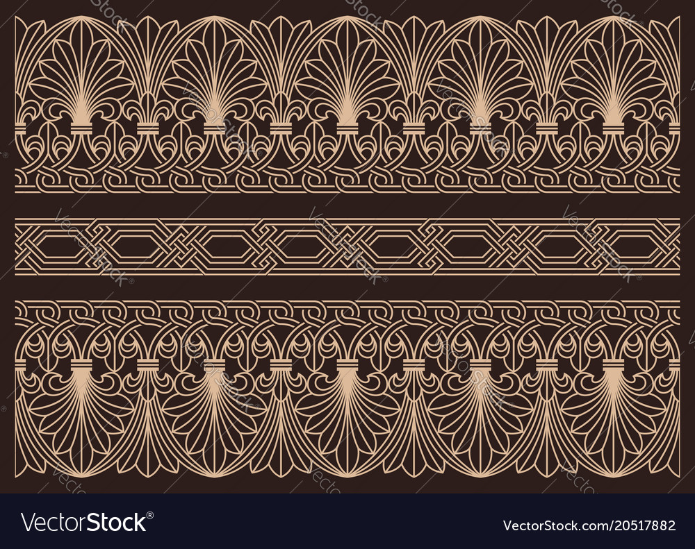 Horizontal seamless patterns ornamental borders