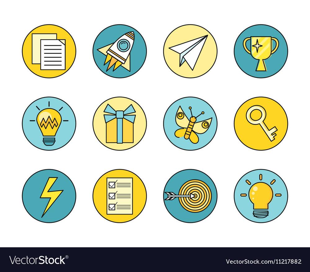 Idea Generation Round Icon Set