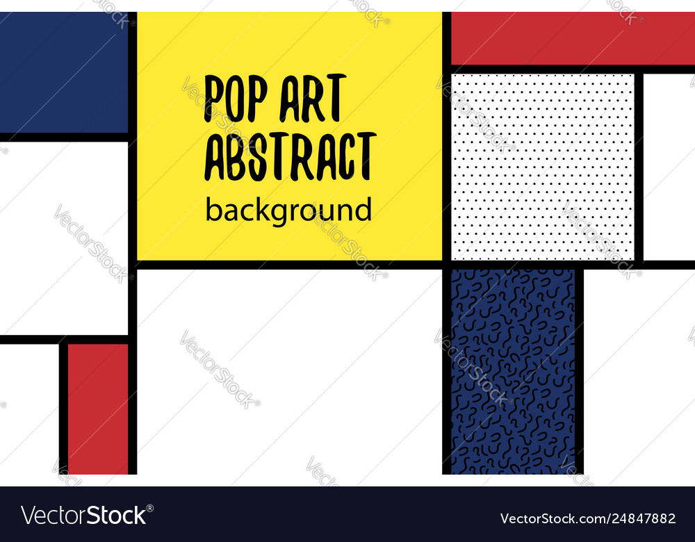 Pop art geometry mondrian style line back vector